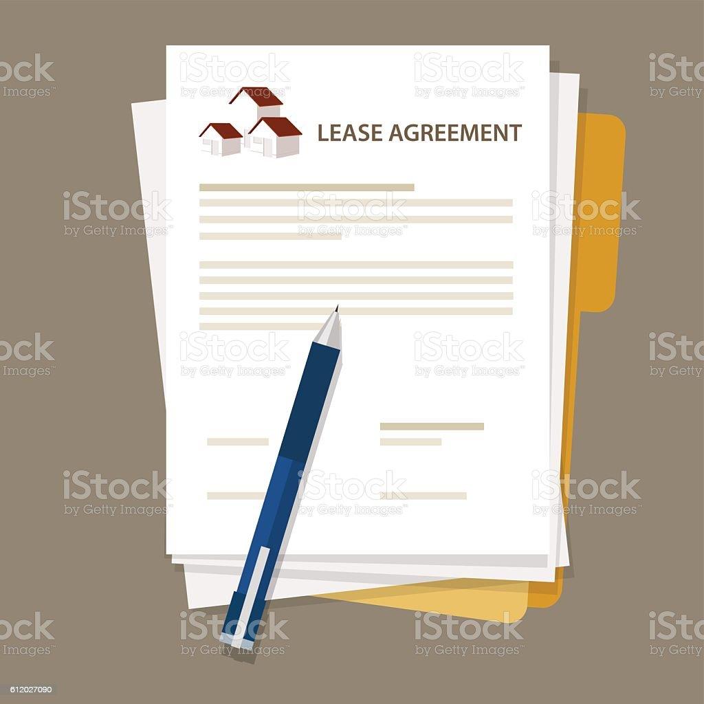 Lease agreement property house document paper pen vector art illustration