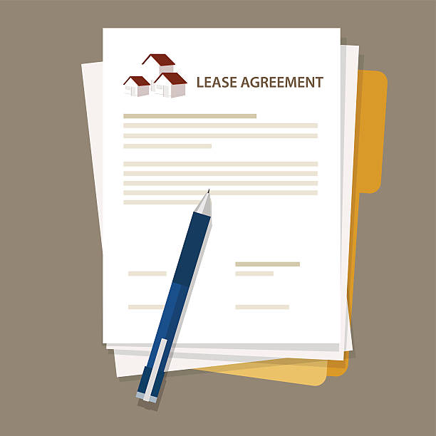 Lease agreement property house document paper pen Lease agreement property house document paper pen vector lease agreement stock illustrations
