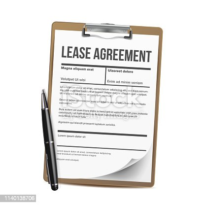 Lease Vector. Home Rent Blank Document Lease. Contract Loan. Illustration