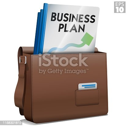 Leather attache briefcase from entrepreneur with bound business plan folders and business cards ready to be distributed to potential investors for business start-up.