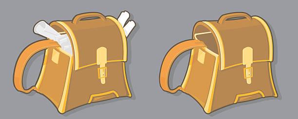 leder-einkaufstasche - lederranzen stock-grafiken, -clipart, -cartoons und -symbole