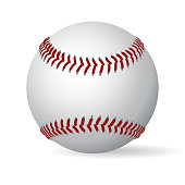 Leather baseball ball. vector