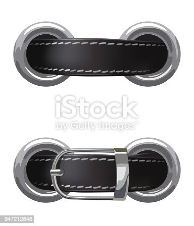 Leather belt passed through metal rings on a white background, vector