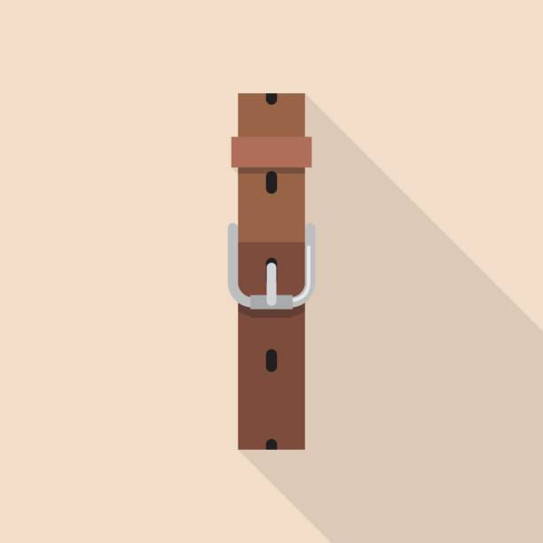 Leather belt with a buckle in flat style vector art illustration