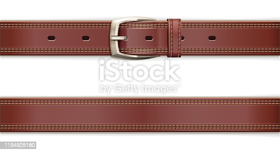 Leather belt with metallic clasp. Clothes accessory. Seamless pattern. Fashion detail. Trendy clothes accessories. Wear decorative element. Isolated on white background. Eps10 vector illustration.