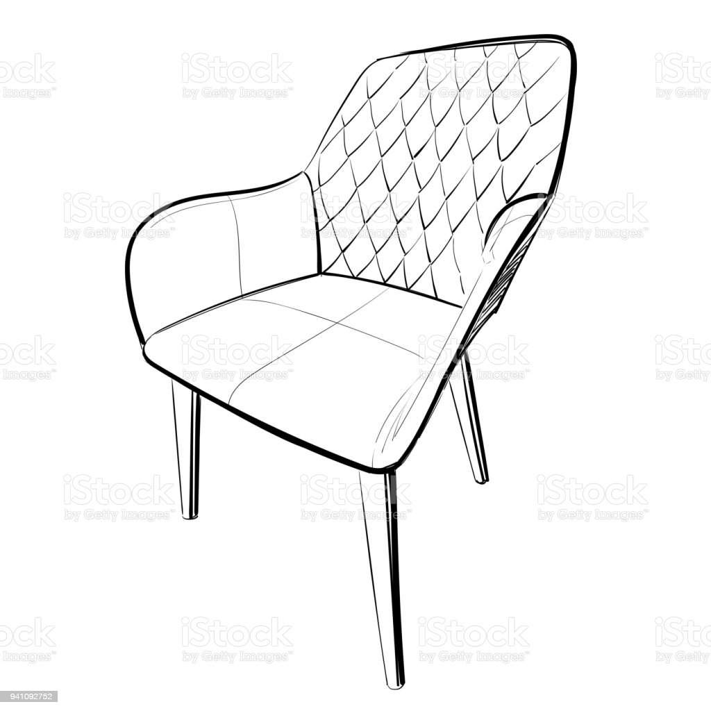 Leder Stuhl Skizze Stock Vektor Art Und Mehr Bilder Von