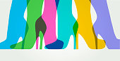 Colourful overlapping silhouettes of leather boots