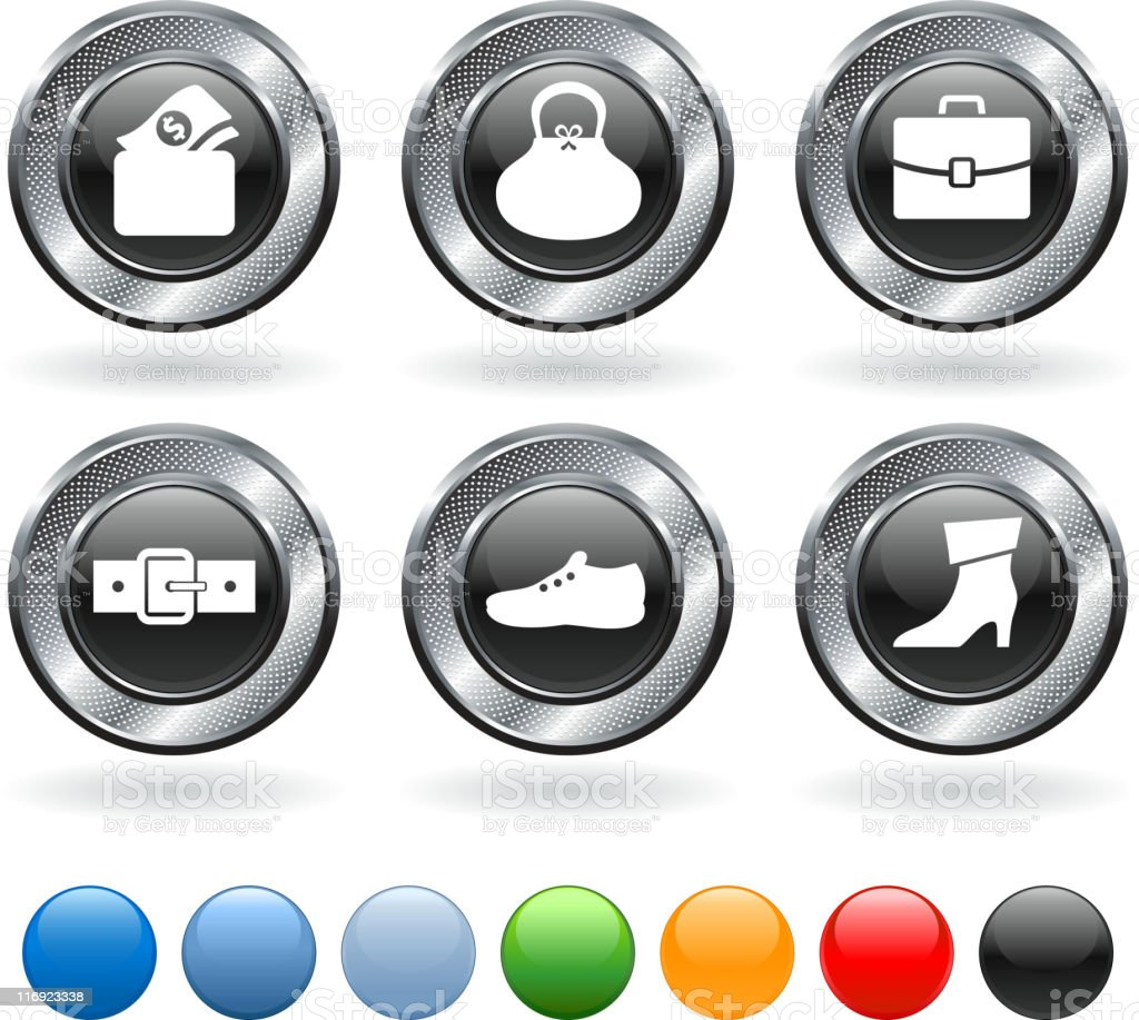 leather goods royalty free vector icon set on metallic button royalty-free stock vector art