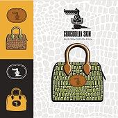 Leather handbag made from crocodile skin. Emblem  crocodile.