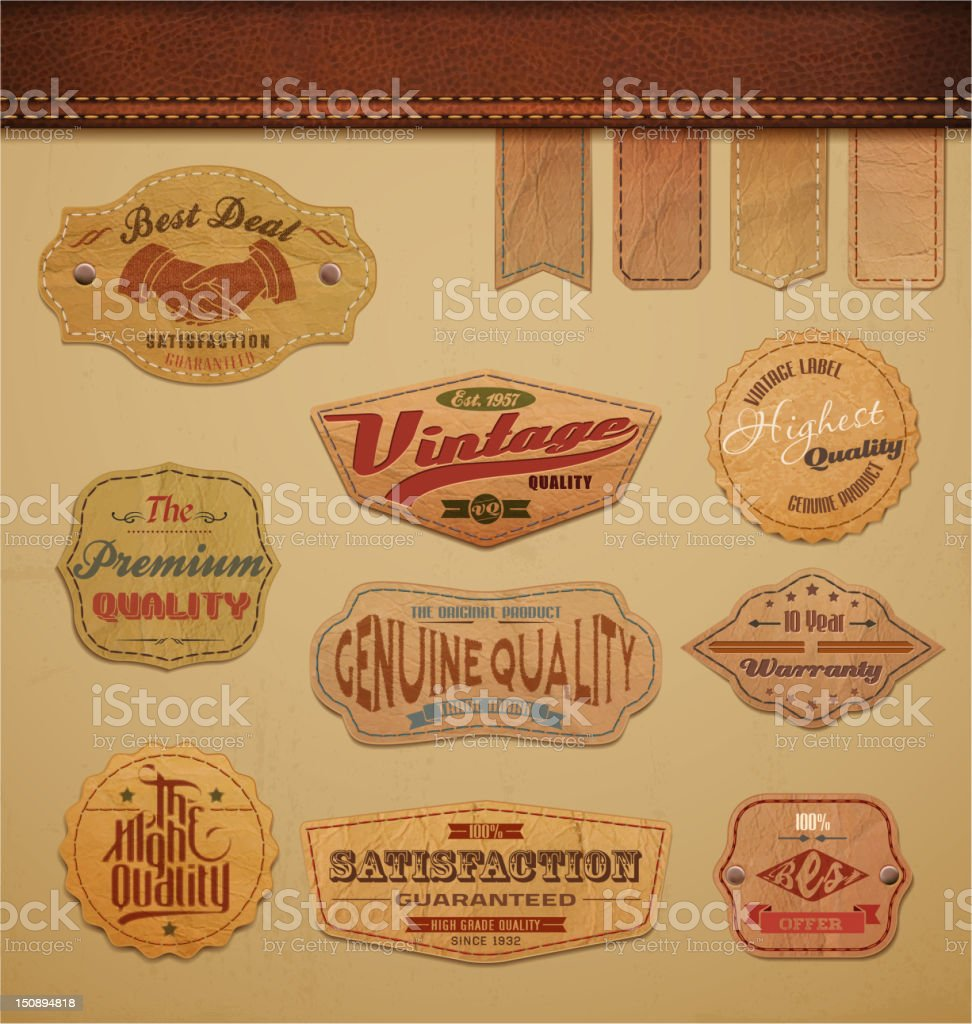 Leather Labels Collection vector art illustration