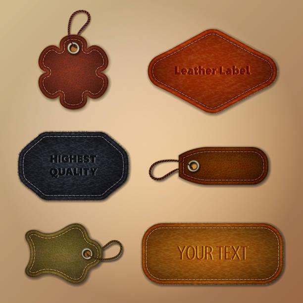 illustrazioni stock, clip art, cartoni animati e icone di tendenza di leather labels collection - pezze di stoffa