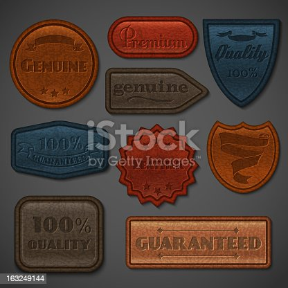 istock Leather labels set 163249144
