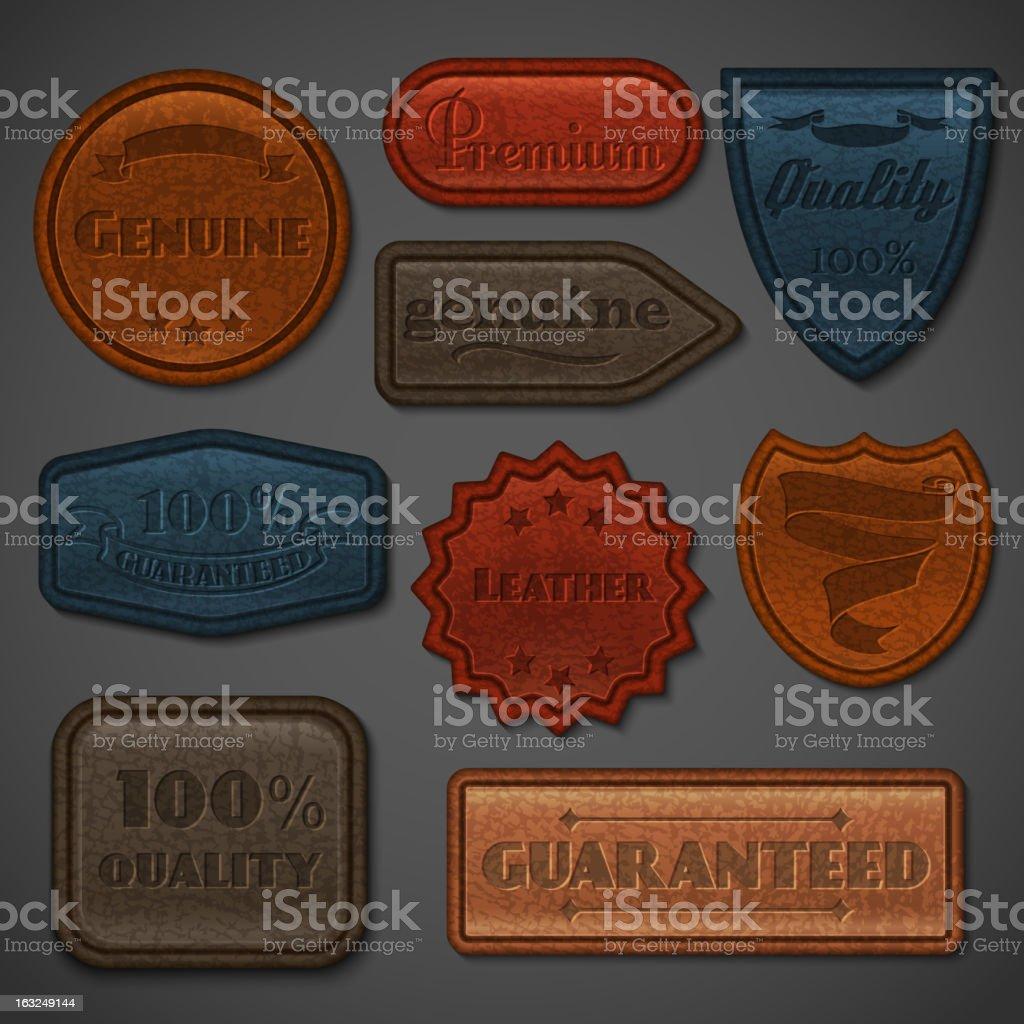 Leather labels set vector art illustration