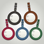 Leather luggage tags labels template.