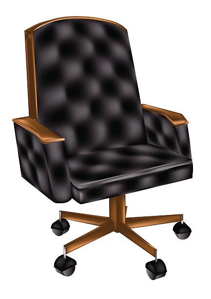 bürostuhl aus leder - stuhllehnen stock-grafiken, -clipart, -cartoons und -symbole