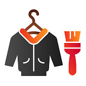 istock Leather repair flat icon. Jacket and brush color icons in trendy flat style. Clothes cleaning gradient style design, designed for web and app. Eps 10. 1209514823