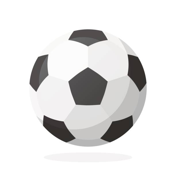 Leather soccer ball vector art illustration