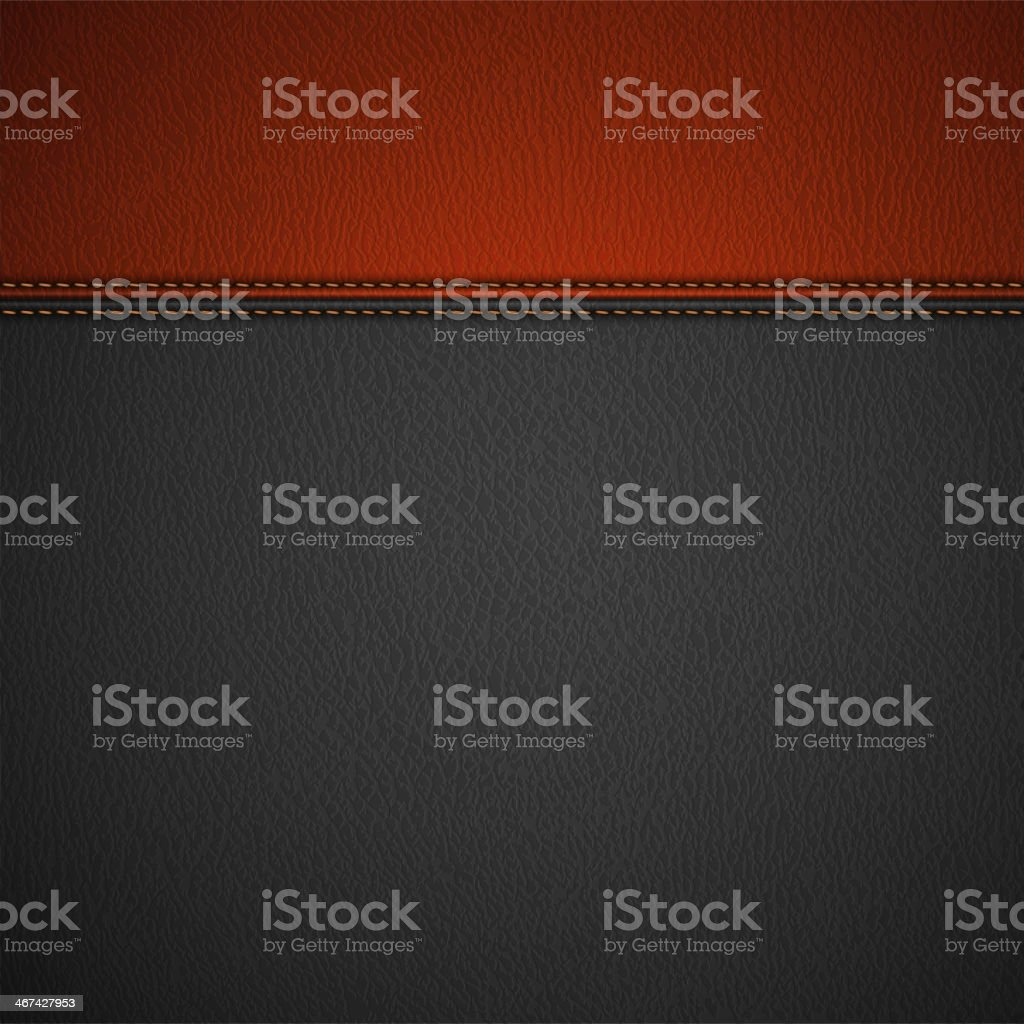 Leather Texture Background with Stitched Red Stripe vector art illustration
