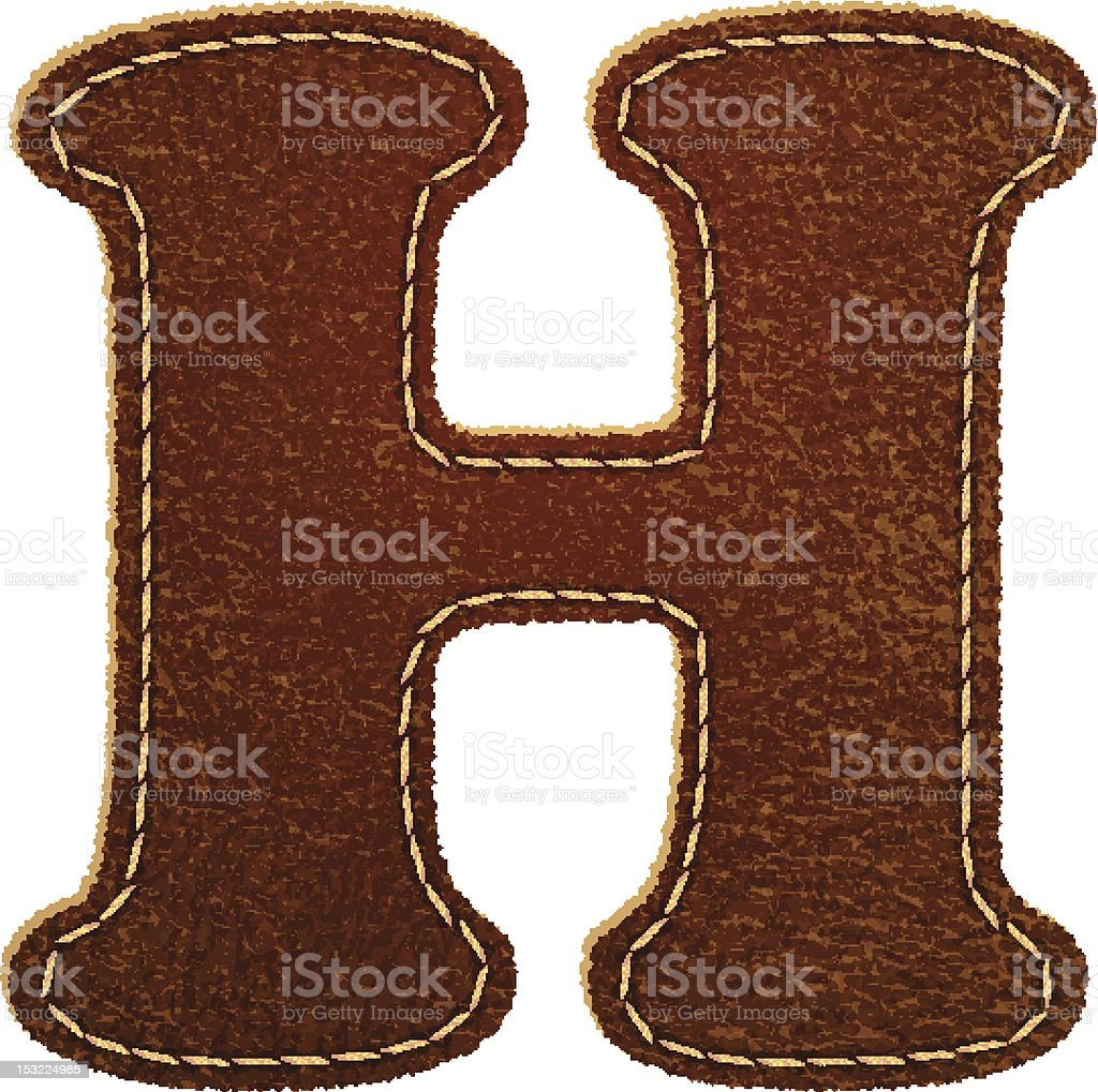 Leather textured letter H royalty-free stock vector art