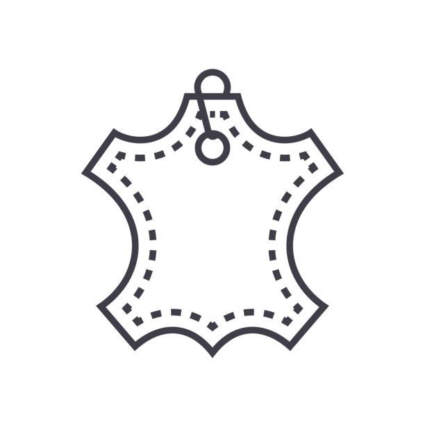 leder-vektor-linie-symbol, zeichen, illustration auf hintergrund, editierbare striche - lederverarbeitung stock-grafiken, -clipart, -cartoons und -symbole