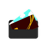 Leather wallet for business cards. Vector illustration on white background