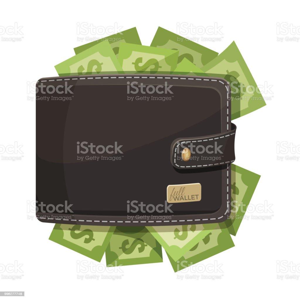 Leather wallet icon full of money vector emblem vector art illustration