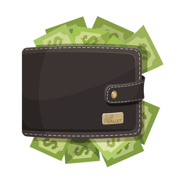 illustrazioni stock, clip art, cartoni animati e icone di tendenza di leather wallet icon full of money vector emblem - pieno