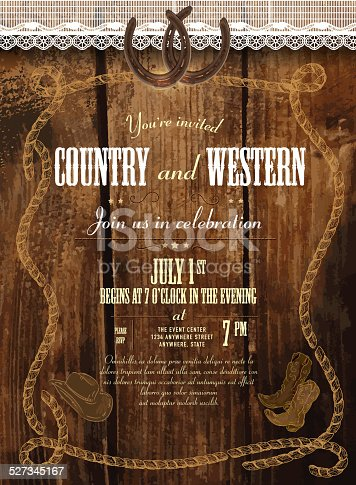 Leather and wood country and western invitation design template, Includes wooden background, leather label, lace, horseshoes, cowboy boots and cowboy hat. Sample text design. Easy layers for customizing.