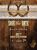 Leather, wood and lace country and western invitation design template