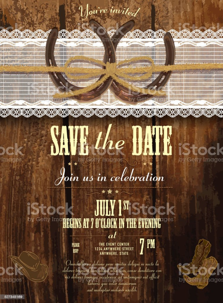 Leather, wood and lace country and western invitation design template vector art illustration