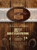 Leather and wood country and western invitation design template, Includes wooden background, leather label, lace and horseshoes. Sample text design. Easy layers for customizing.