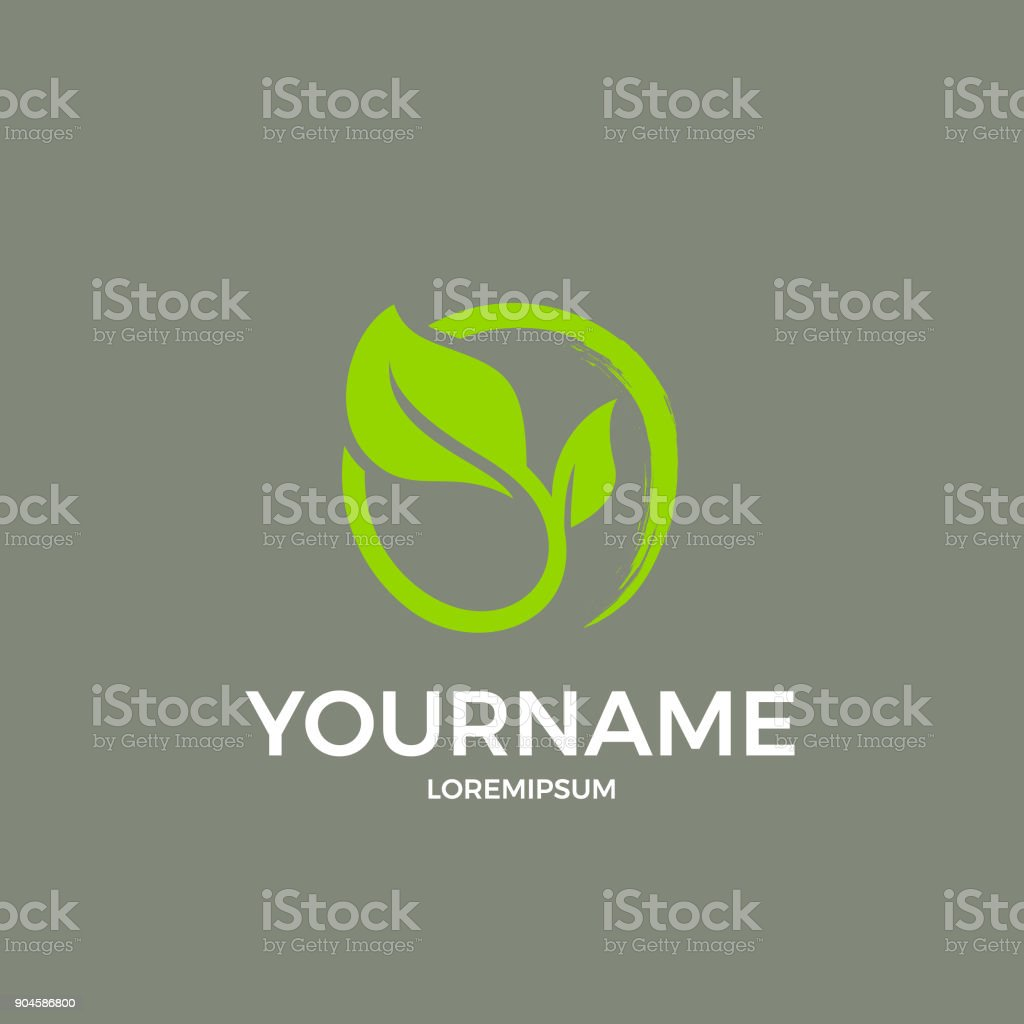 Leaves and a letter vector art illustration