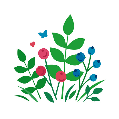Leaves and berries in a flat style. A cute bouquet of forest blueberries and herbs isolated on a white background. A bunch of twigs, leaves, berries for greeting cards, posters, products, cosmetic, goods, backgrounds, design. Vector colored trendy illustr