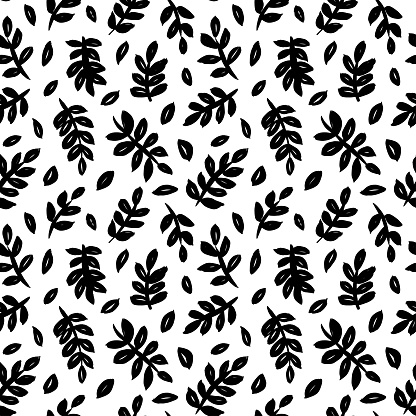 Leaves and branches vector seamless pattern. Black brush leaves and twigs. Olive branch modern ornament.