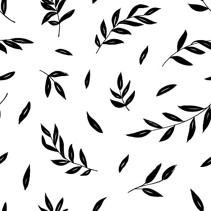 Leaves and branches vector seamless pattern. Black brush leaves and twigs. Olive branch modern ornament. Black ink texture with foliage.