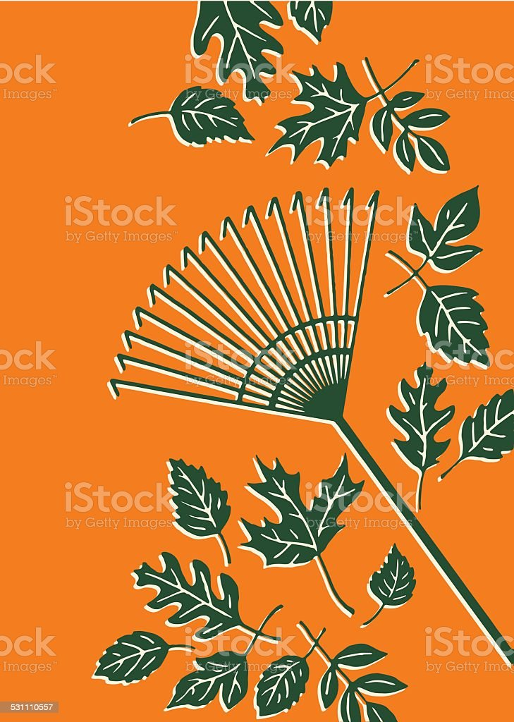 Leaves and Rake vector art illustration