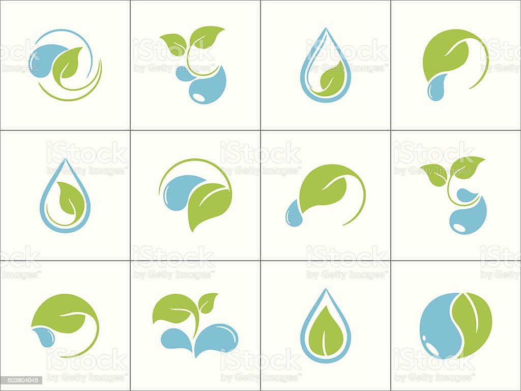 Leaves and water icons vector art illustration