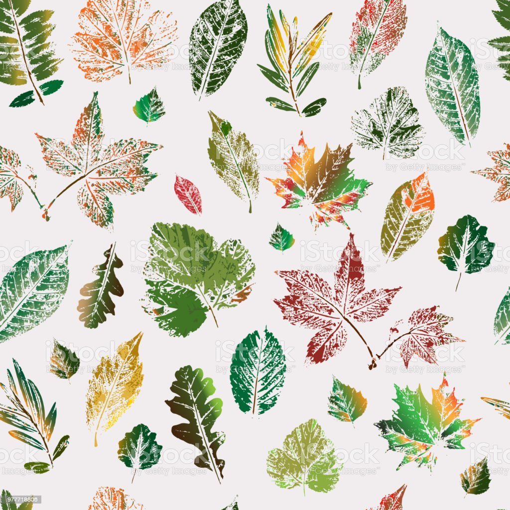 Leaves Are Colored Silhouettes Of Trees And Bushes Seamless Pattern ...