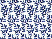 ceramic blue and white leaves pattern seamless vector, cute porcelain background design