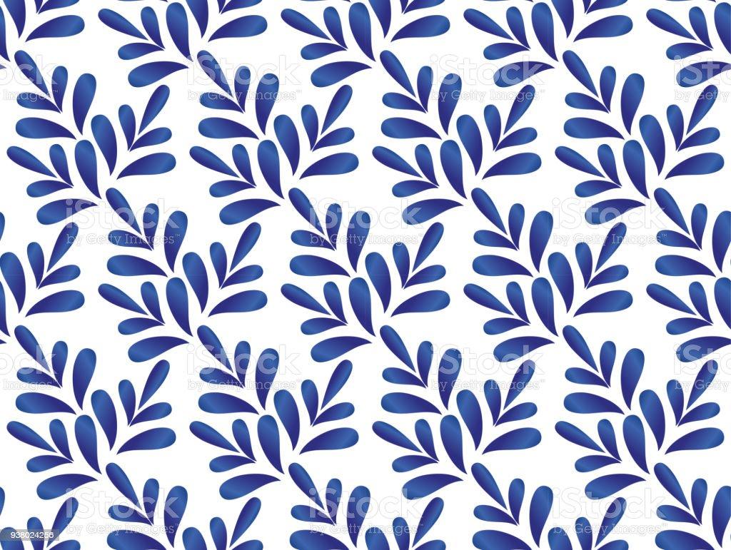 leaves blue and white pattern vector art illustration