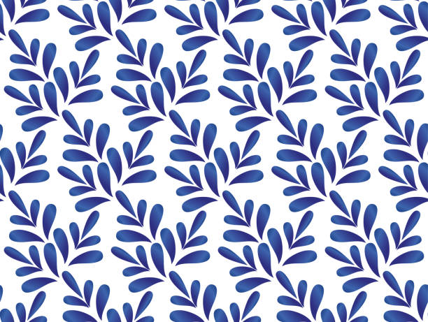 leaves blue and white pattern - tile pattern stock illustrations, clip art, cartoons, & icons