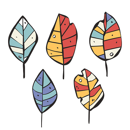 Leaves collection color cartoon style