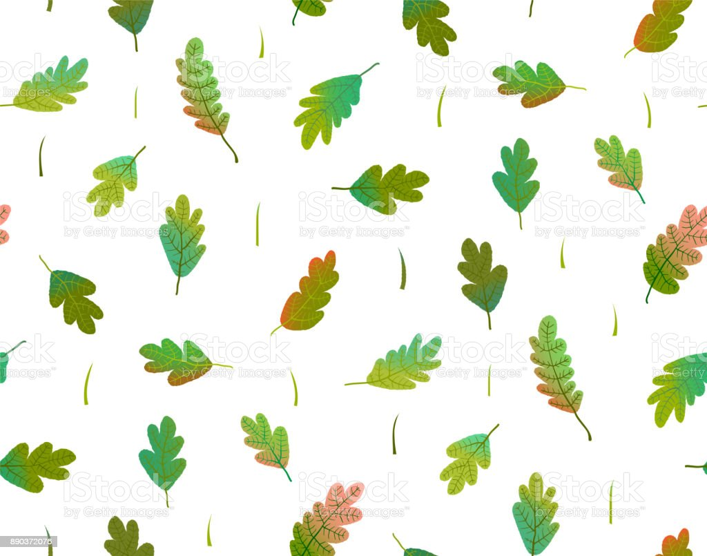 Leaves colorful seamless pattern watercolor style vector art illustration