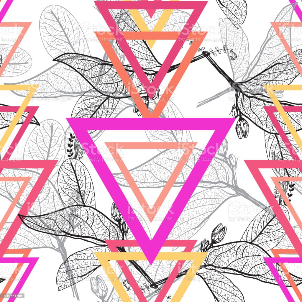 Leaves contours, triangle Rainbow bright magenta pink orange modern trendy floral seamless pattern, hand-drawn. Geometric abstract black background for site, blog, fabric. Vector vector art illustration