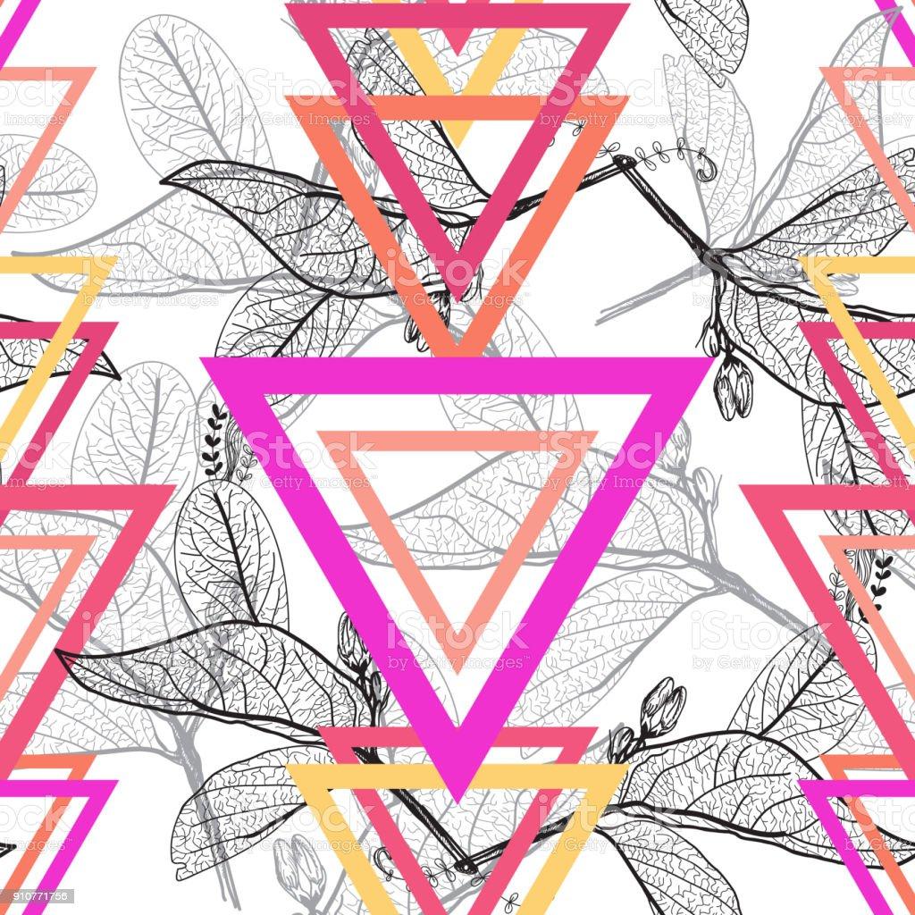 Konturen, Dreieck Rainbow hell Magenta pink orange moderne trendige nahtlose Blumenmuster, handgezeichnete Blätter. Geometrische abstrakte schwarzer Hintergrund für Website, Blog, Stoff. Vektor – Vektorgrafik