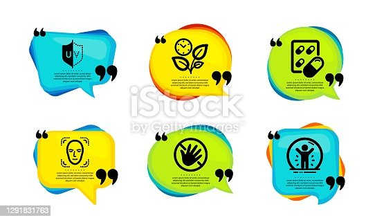 istock Leaves, Face detection and Capsule pill icons set. Do not touch, Uv protection and Recovered person signs. Vector 1291831763