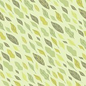Light green and yellow leaves on a pastel background flows in 45 degrees angle