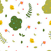 Leaves, grass children's pattern, Vector nature graphic background. Floral motif. Vector ecology line art illustration.