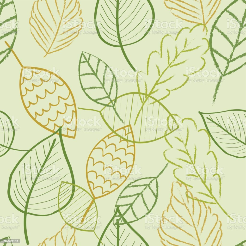 Leaves Green Color Doodle Wallpaper Seamless Pattern Retro Design Royalty Free
