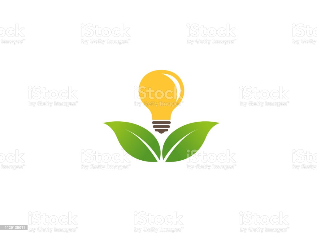 Leaves Holding A Lamp To Save Energy For Logo Design
